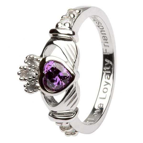 Claddagh February Birthstone Ring