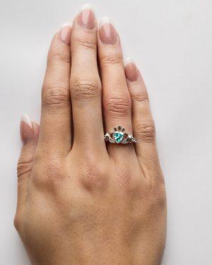 Claddagh March Birthstone Ring
