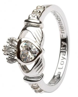Claddagh March Birthstone Ring